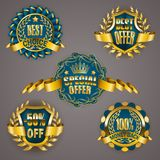 Golden badges with laurel wreath. Set of luxury golden badges with laurel wreath, ribbon. 100 percent money back, 50 off, best choice, special offer. Promotion vector illustration