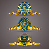 Golden badges with laurel wreath. Set of luxury golden badges with laurel wreath, ribbons. 100 % money back, best choice, premium quality. Promotion emblems Stock Photo