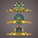 Golden badges with laurel wreath Stock Photo
