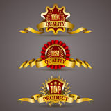 Golden badges with laurel wreath. Set of luxury golden badges with laurel wreath, ribbons. 100 percent quality, best, top product. Promotion emblems, icons royalty free illustration