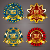 Golden badges with laurel wreath. Set of luxury golden badges with laurel wreath, ribbons. 100% quality, money back, best choice. Promotion emblems, icons Royalty Free Stock Image