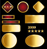 Golden badges and medals stock illustration