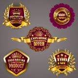 Golden badges. Set of luxury gold badges with crown, ribbon. Exclusive offer, premium product, 100 percent top quality guaranteed. Promotion emblems, icons Royalty Free Stock Photography