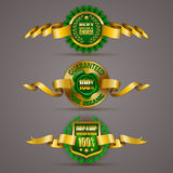 Golden badges. Set of luxury gold badges with floral elements, stars, laurel wreath, wax seal. 100 % pure organic, best choice. Eco emblem, bio icon, logo, label Stock Illustration