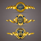 Golden badges. Set of luxury gold badges with stars, laurel wreath, ribbons. Top offer, 100 percents highest quality guaranteed. Promotion emblems, icons, labels Royalty Free Illustration