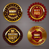 Golden badges. Set of luxury gold badges with stars, laurel wreath, wax seal. 100 percent guaranteed, awesome quality, best price. Promotion emblems, icons Stock Photography