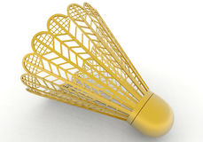 Golden badminton. 3D rendered illustration of a golden badminton. The image can be used as an award / trophy. The composition is isolated on a white background Royalty Free Stock Photography