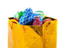 Golden bag with Christmas candy Stock Photo