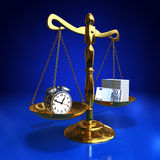 Golden balance. With alarm clock and roll of banknotes, Time is money concept Royalty Free Stock Photo