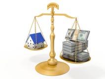 Golden balance. Golden balance, money and house stock illustration
