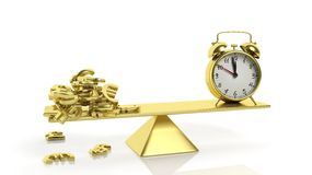 Golden balance scale with currency symbols and alarm clock Royalty Free Stock Photography
