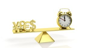 Golden balance scale with currency symbols and alarm clock Royalty Free Stock Image