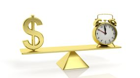 Golden balance scale with Dollar symbol and alarm clock Stock Image