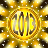Golden ball 2013. Happy new year  golden ball 2013 and radial background Stock Photos