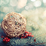 Golden ball. Abstract Xmas decorations Royalty Free Stock Images