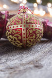 Golden ball with christmas lights Stock Photo