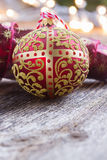 Golden ball with christmas lights Royalty Free Stock Images