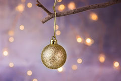 Golden ball Christmas ornament hanging on dry tree branch. Shining garland golden lights. Beautiful pastel background. Golden ball Christmas ornament hanging on stock photo