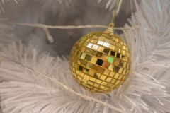 Golden ball Christmas ornaments royalty free stock image