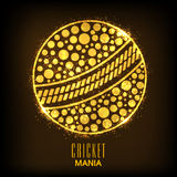Golden ball for Cricket Mania. Royalty Free Stock Images