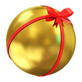 Golden Ball with Red Bow. Isolated on white background Royalty Free Stock Photography