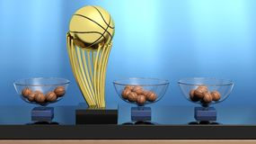 Golden ball trophy and lottery baskets. With basketball balls Royalty Free Stock Images