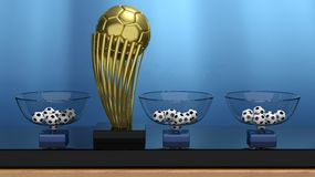 Golden ball trophy and lottery baskets Royalty Free Stock Photography