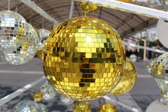 golden ball used to decorate Christmas and New Year. Stock Photos