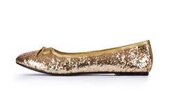 Golden ballet shoes Stock Images