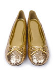 Golden ballet shoes Stock Photography