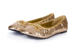 Golden ballet shoes Royalty Free Stock Photo