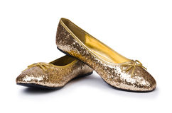 Golden ballet shoes Stock Images