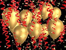 Golden balloon with ribbons. 3d rendered many coloured balloon with ribbons Royalty Free Stock Photography