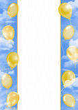 Golden balloon in sky border Royalty Free Stock Images