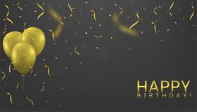 Golden balloons background. Golden balloons with confetti and ribbons. Festive holiday background, Vector illustration Stock Illustration