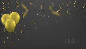 Golden balloons background. Golden balloons and Golden flying confetti. Festive holiday background Royalty Free Illustration