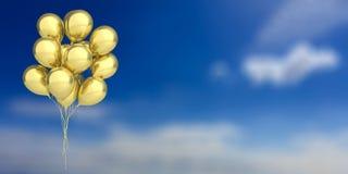 Golden balloons on blue sky background. 3d illustration. Group of golden party balloons on blue sky background. 3d illustration Royalty Free Stock Photography