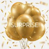 Golden balloons bundle, and falling confetti. Winner concept. Vector illustration Royalty Free Stock Images