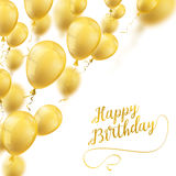 Golden Balloons Cover Happy Birthday. Golden balloons on the white with the text Happy Birthday Stock Photos