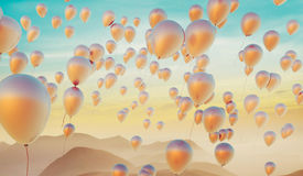 Golden balloons filled with hellium Royalty Free Stock Images