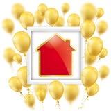 Golden Balloons Frame Golden House Stock Photo