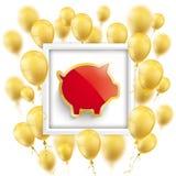 Golden Balloons Frame Piggy Bank Royalty Free Stock Images