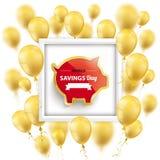 Golden Balloons Frame Piggy Bank World Savings Day Stock Images