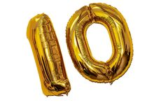 Golden balloons. In the form of dozens Royalty Free Stock Photography