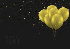 Golden balloons background. Golden balloons and Golden flying confetti. Festive holiday background Vector Illustration