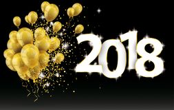 Golden Balloons 2018 Particles Confetti Black Background. Golden balloons and golden particles on the black background with the numbers 2018 Royalty Free Stock Photography