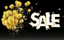 Golden Balloons Sale Particles Confetti Black Background. Golden balloons and golden particles on the black background Stock Photo