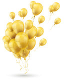 Golden Balloons Shadow White Cover. Golden balloons with white background Stock Photos
