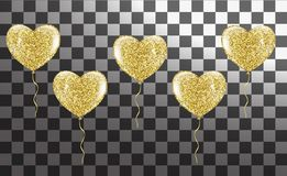 Golden balloons in the shape of a heart on a background. Eps.10 Stock Image