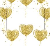 Golden balloons in the shape of a heart on a background the shap. E of a heart on a white background Royalty Free Stock Image